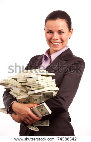 Woman Holding Money - stock photo