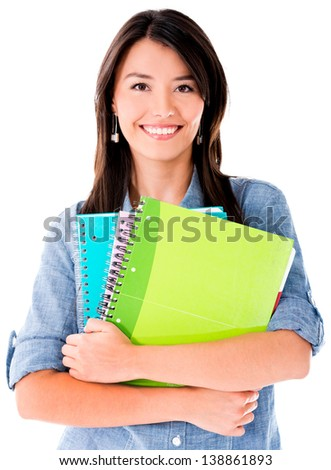 Woman holding notebooks isolated over white - education concepts