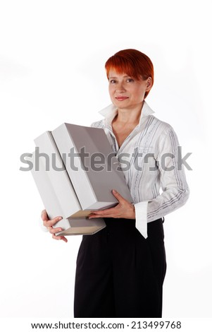 woman holding office folders on a white background
