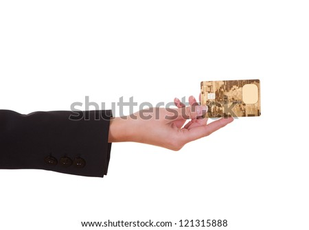 Woman holding out a credit card. Close cropped shot over white - stock photo