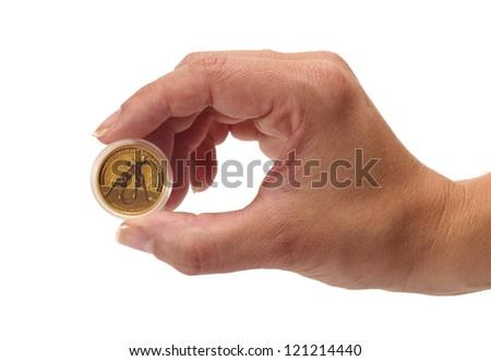 Woman holding panad Australian Kangaroo gold coin - stock photo