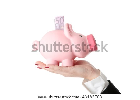 Woman Holding Piggy Bank, isolated on white - stock photo