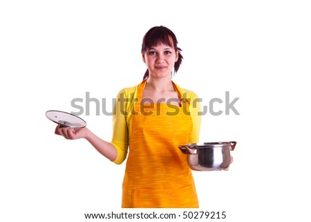 woman holding pot in a hands - stock photo