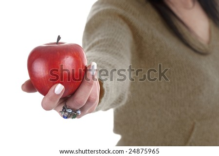 woman holding red apple isolated on white background - health and lifestyle concept