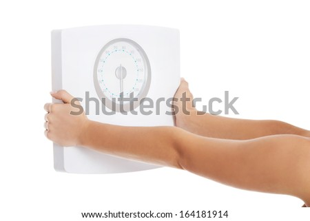 Woman holding scope. Body part, isolated on white.