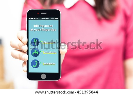 woman holding smart phone online utility bill payment at your fingertips,high key - stock photo
