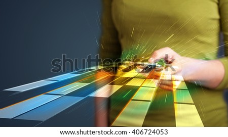 Woman holding smartphone with abstract futuristic lines
