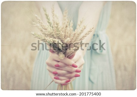 Woman holding some corn spikes