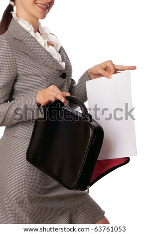 Woman holding suitcase with documents in the hands