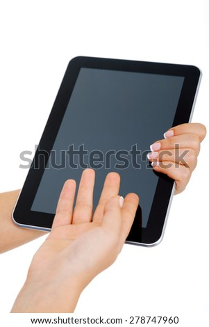 Woman holding tablet, isolated on white