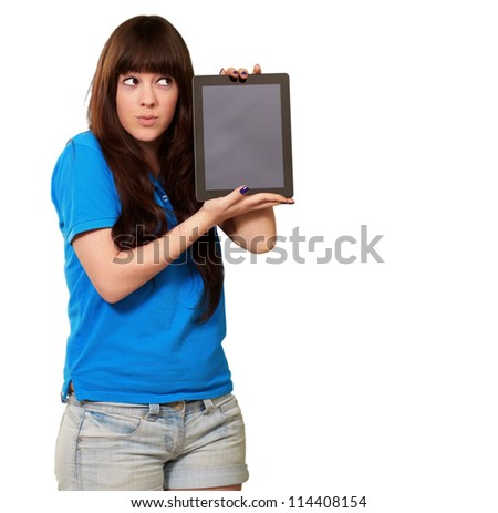 Woman Holding tablet Isolated On White Background - stock photo