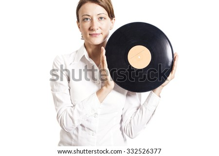 woman holding vinyl record isolated on white