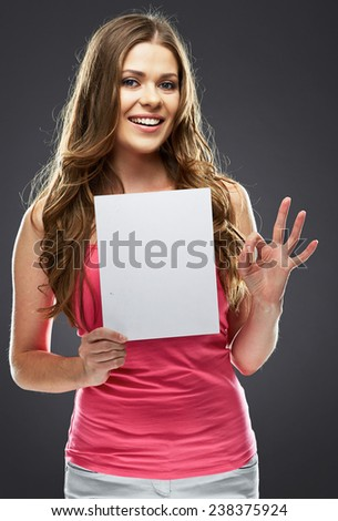 woman holding white blank board show OK symbol . long hair . - stock photo