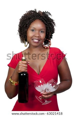 Woman Holding Wine - stock photo