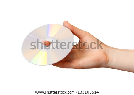 Woman holds a CD on a white background - stock photo