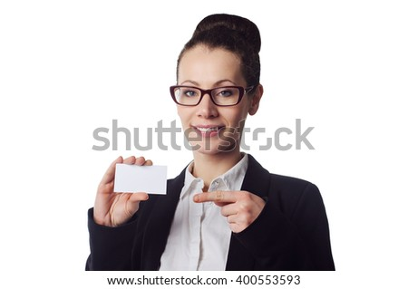 Woman holds out business or credit card Isolated