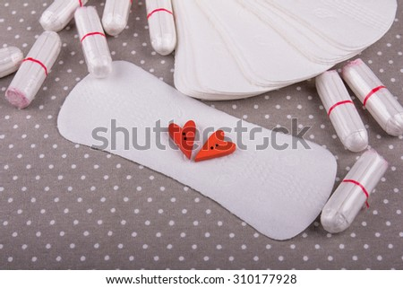 Woman hygiene protection, menstruation, cotton tampons ,sanitary pads, woman critical days - stock photo