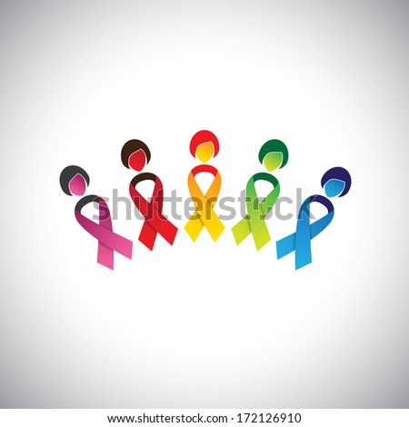 woman icons with colorful cancer prevention bows - concept illustration. This graphic contains woman's body as cancer ribbon bow & female face indicating protection, safeguarding against breast cancer - stock photo