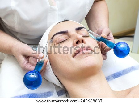 Woman in a beauty salon doing massage