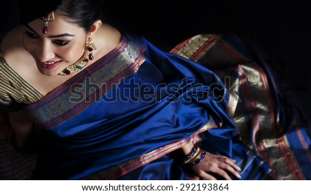 Woman in a blue saree - stock photo