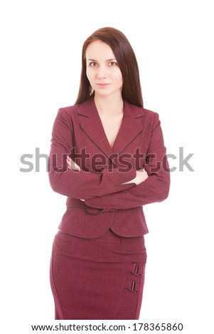 woman in a business suit on a white background, isolated