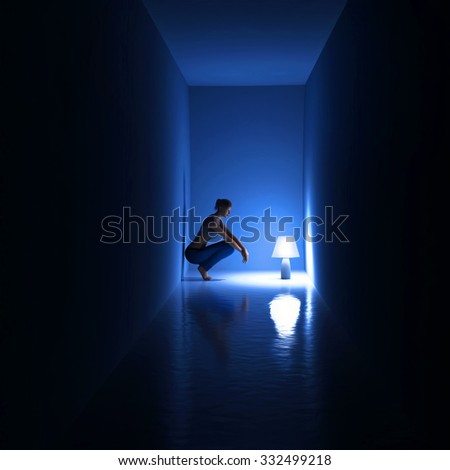 woman in a dark room - stock photo