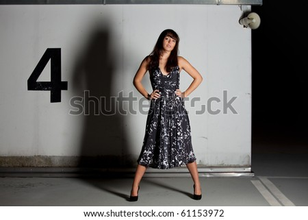 woman in a dress on a parking lot