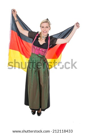 Woman in a drindl with flag