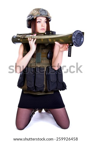 Woman in a military camouflage with a grenade launcher isolated over white background - stock photo