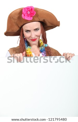 woman in a pirate outfit - stock photo