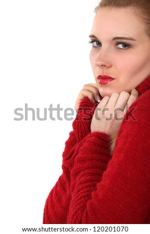 Woman in a red jumper - stock photo