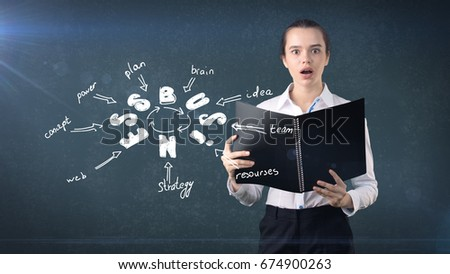 Woman in a suit holding report near wall with a business idea sketch drawn on it. Concept of a successful business.