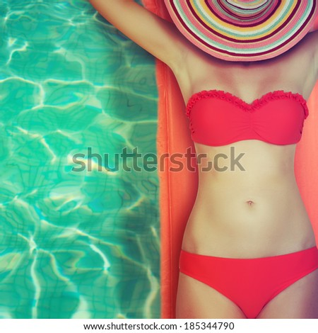 woman in a swimming pool  - stock photo