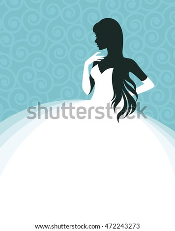 Woman in a wedding dress, invitation or flyer template for the bride show illustration