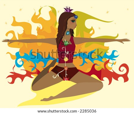 Woman in a yogic pose with the seven chakra symbols along her body - stock photo