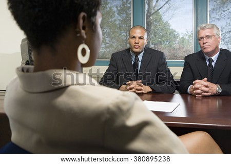 Woman in an interview - stock photo
