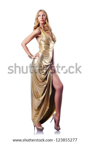 Woman in attractive dress on white
