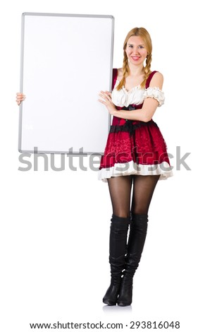 Woman in bavarian costume with poster isolated on white