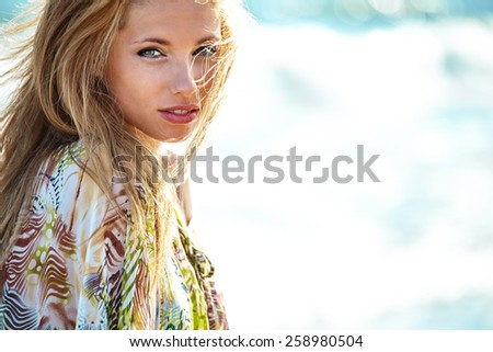 Woman in beach. retouching free - stock photo