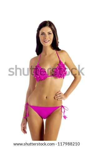 Woman in Bikini isolated on white - stock photo