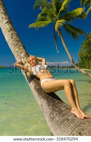 Woman In Bikini Under Palm  - stock photo