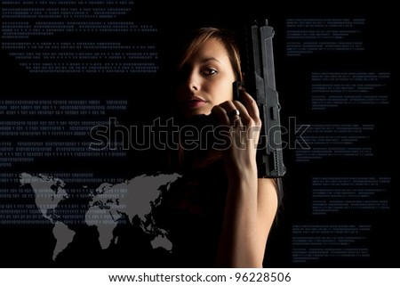 Woman in black background with gun, cyber attack, cyber terrorism, cybercrime concept.