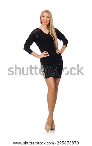 Woman in black clothing isolated on white