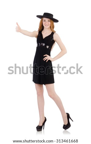 Woman in black dress and hat isolated on white