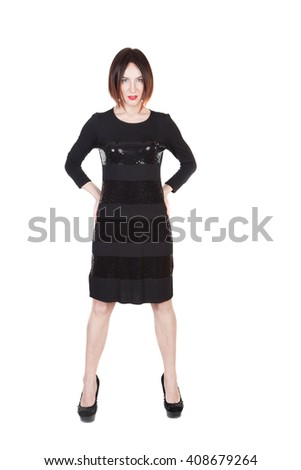 Woman in Black Dress Isolated on White - stock photo