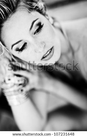 Woman in Black & White - stock photo
