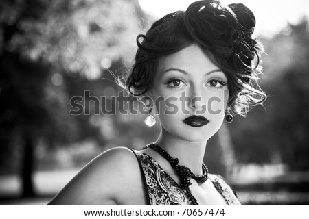 Woman in Black & White - stock photo