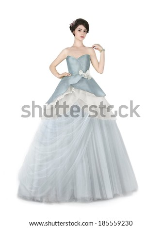 Woman in blue ball dress. - stock photo