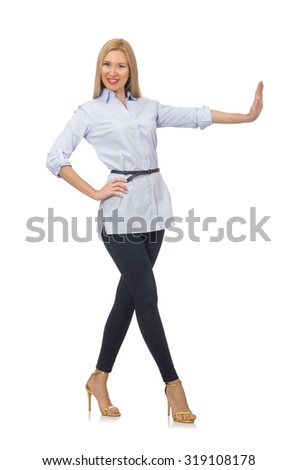Woman in blue blouse  isolated on white - stock photo