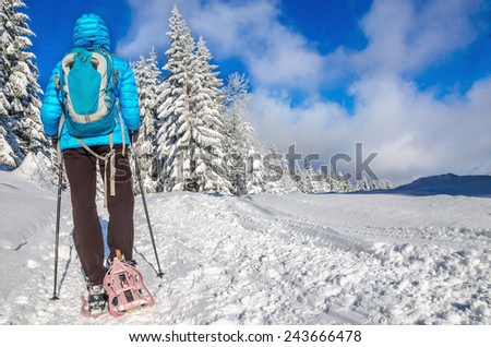 Woman in blue jacked with backpack walking in show shoes, view from behind - stock photo